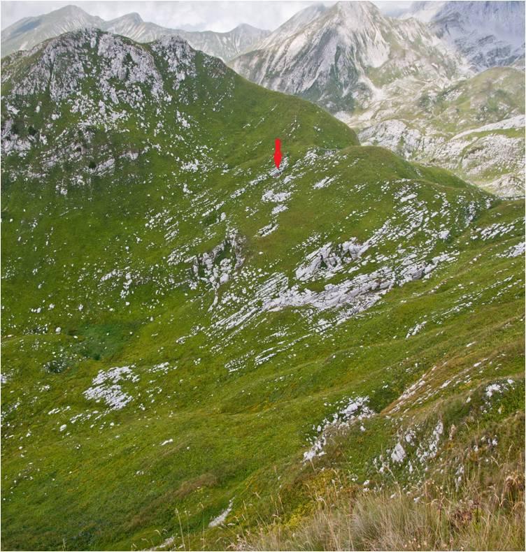 A bejárat látképe a Zont-csúcs oldalából nézve